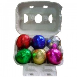 Easter egg box with 6 chocolate eggs open