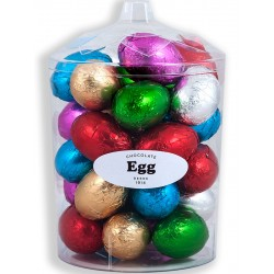 Easter chocolate egg unit in transparent box with 30 Easter chocolate eggs