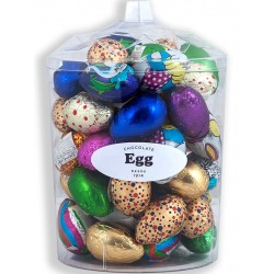 Easter chocolate egg unit decorated and presented in a transparent box with 55 Easter chocolate eggs