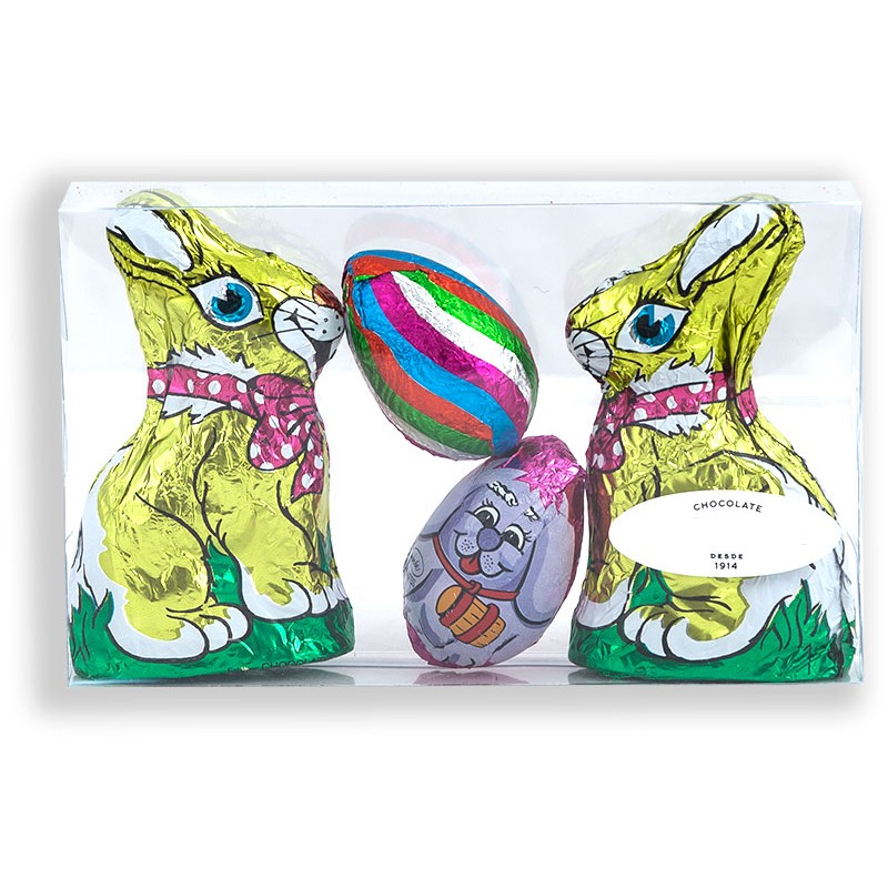 box with 2 chocolate bunnies and 2 chocolate eggs with 100grs