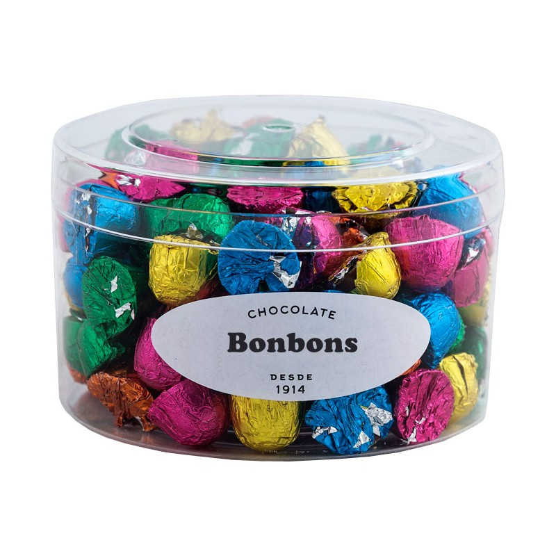 Milk chocolate bonbons in transparent box 400grs.