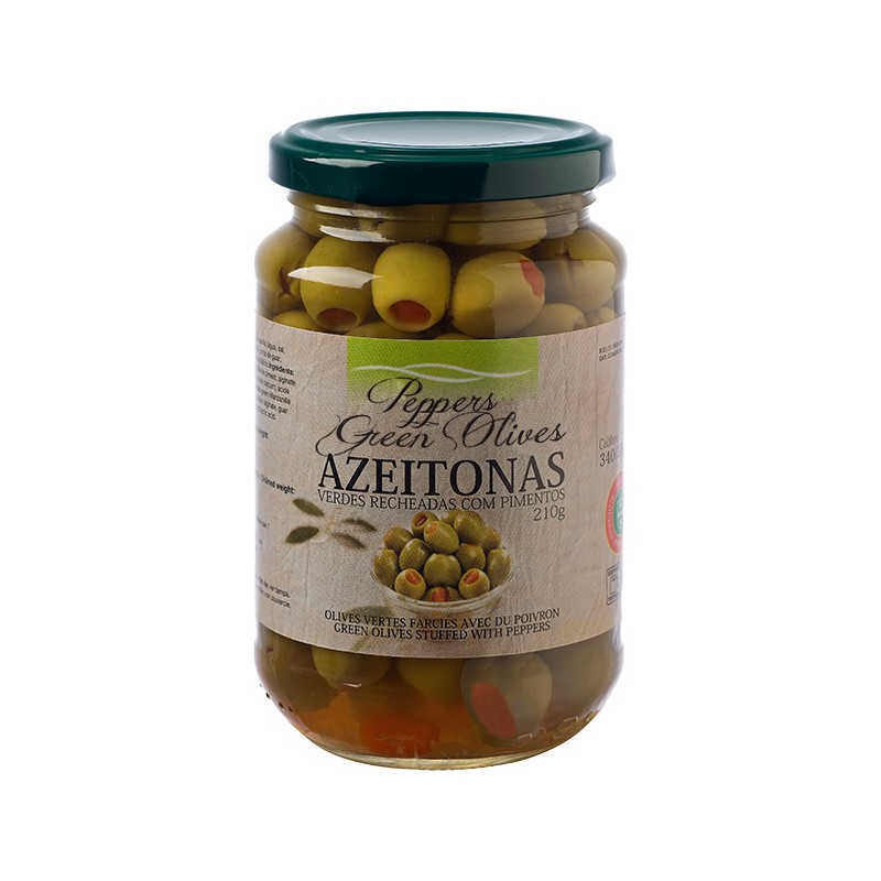 Green Olives With Peppers in Glass Jar