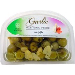 Garlic Green Olives 175gr in plastic cuvette