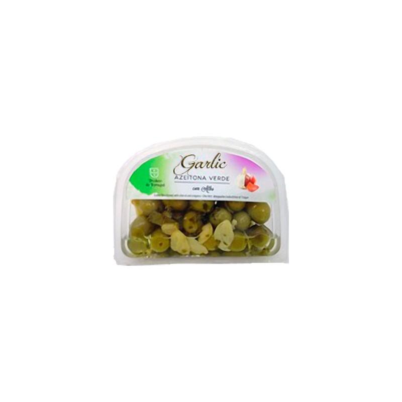 Garlic Green Olives 175gr in plastic cuvette